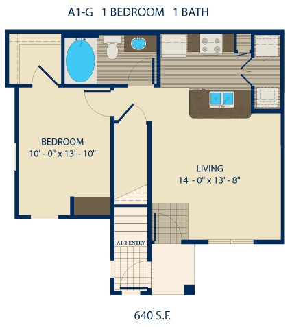 640 sq. ft. EARLE floor plan