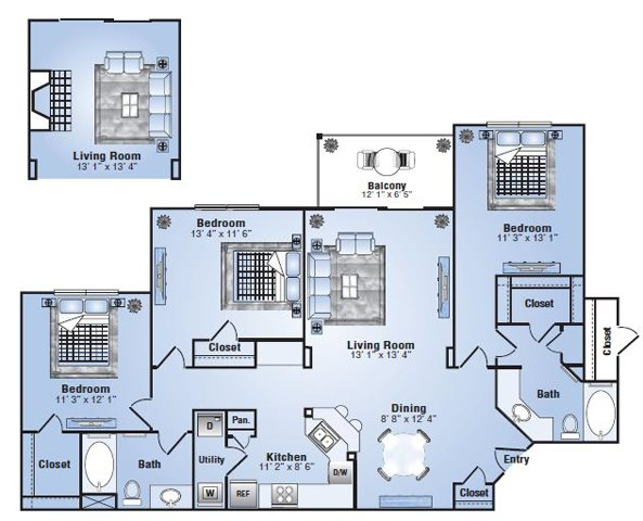 1,341 sq. ft. C1 floor plan