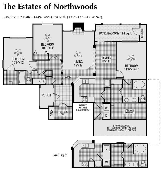 1,514 sq. ft. to 1,628 sq. ft. P floor plan