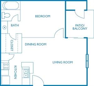 532 sq. ft. Madison floor plan