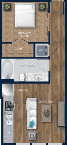 578 sq. ft. E2 floor plan