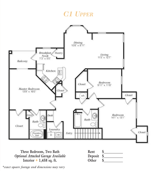 1,458 sq. ft. C2 floor plan