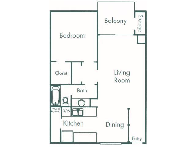 709 sq. ft. A1 floor plan