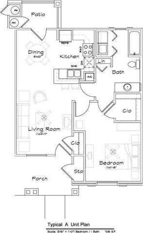 706 sq. ft. 60% floor plan