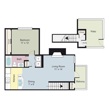 708 sq. ft. A1D floor plan