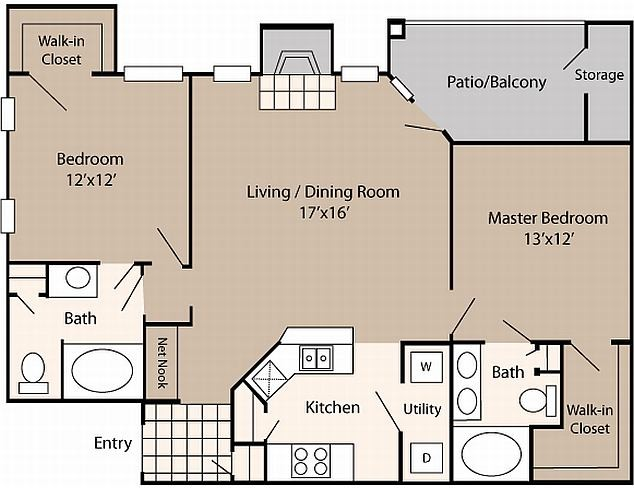 1,032 sq. ft. B1 floor plan