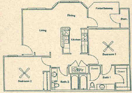 937 sq. ft. B2 floor plan