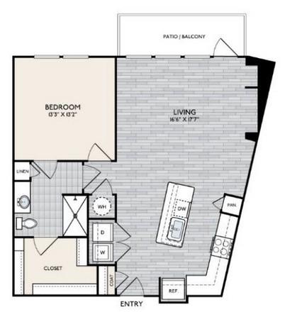 916 sq. ft. A8 floor plan