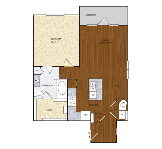 838 sq. ft. A2.3 floor plan