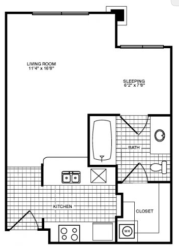 436 sq. ft. floor plan