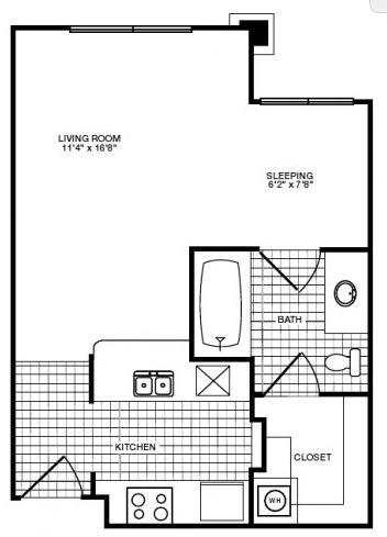 436 sq. ft. floor plan