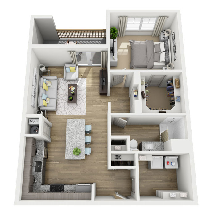 768 sq. ft. A2 floor plan
