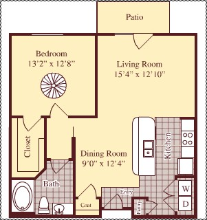849 sq. ft. A6 floor plan