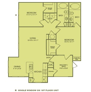 1,144 sq. ft. B2 floor plan
