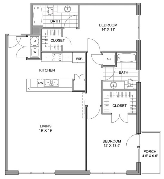 1,240 sq. ft. E floor plan