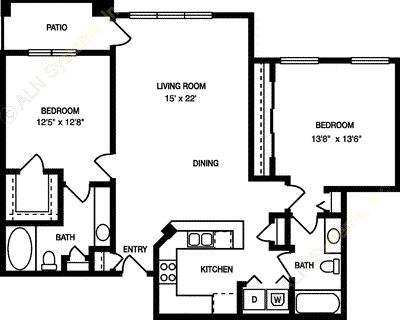 1,089 sq. ft. B2a floor plan