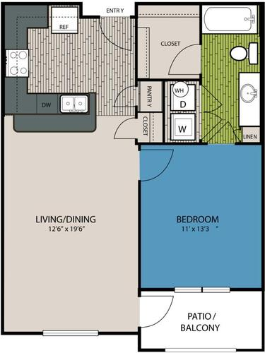 698 sq. ft. A2 floor plan