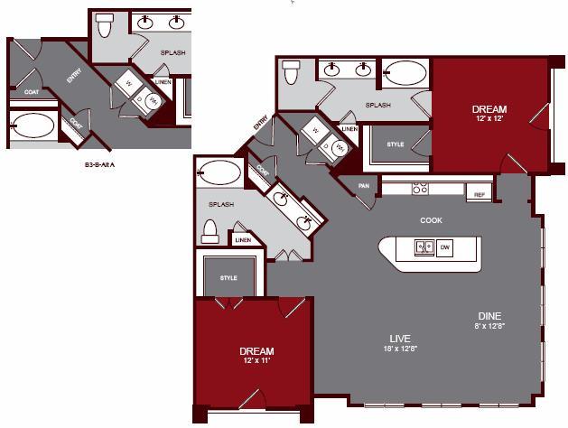 1,305 sq. ft. B3-B floor plan