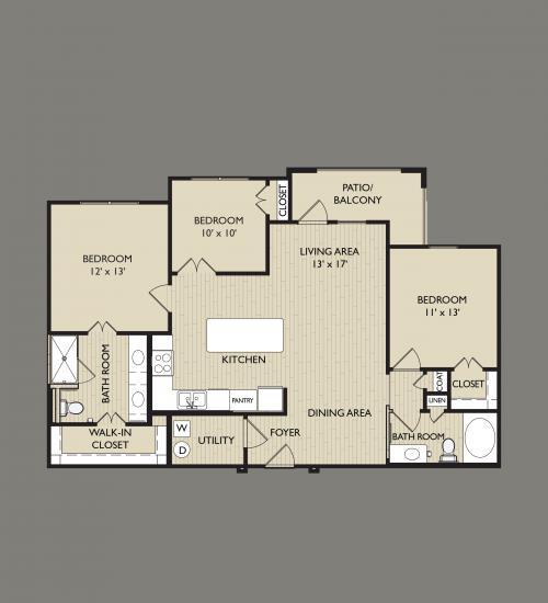 1,214 sq. ft. C1 floor plan