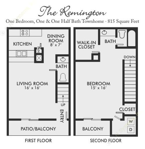 815 sq. ft. Remington floor plan