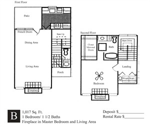 1,017 sq. ft. B floor plan