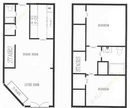 1,095 sq. ft. 2/1.5 floor plan