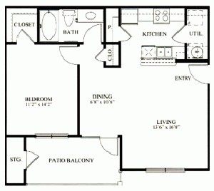 738 sq. ft. A1 floor plan