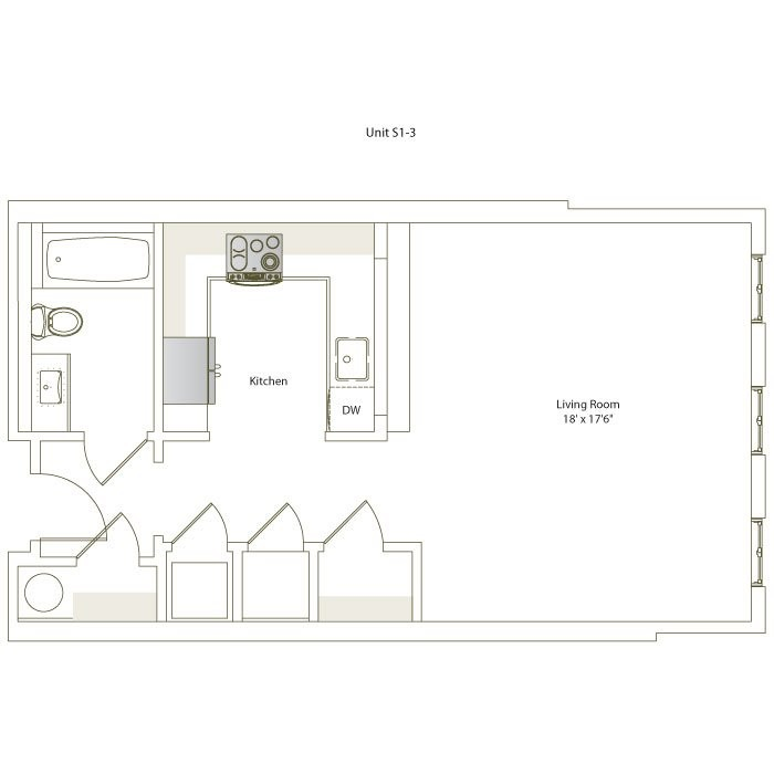 574 sq. ft. S1-3 floor plan