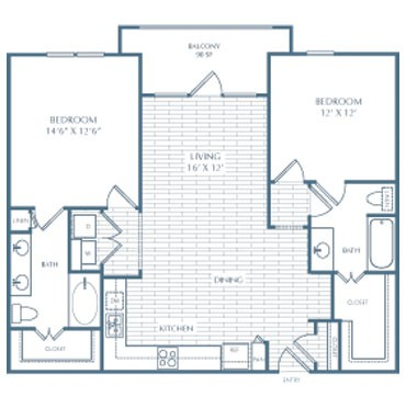 1,125 sq. ft. D2 Sullivan Alt 1 floor plan