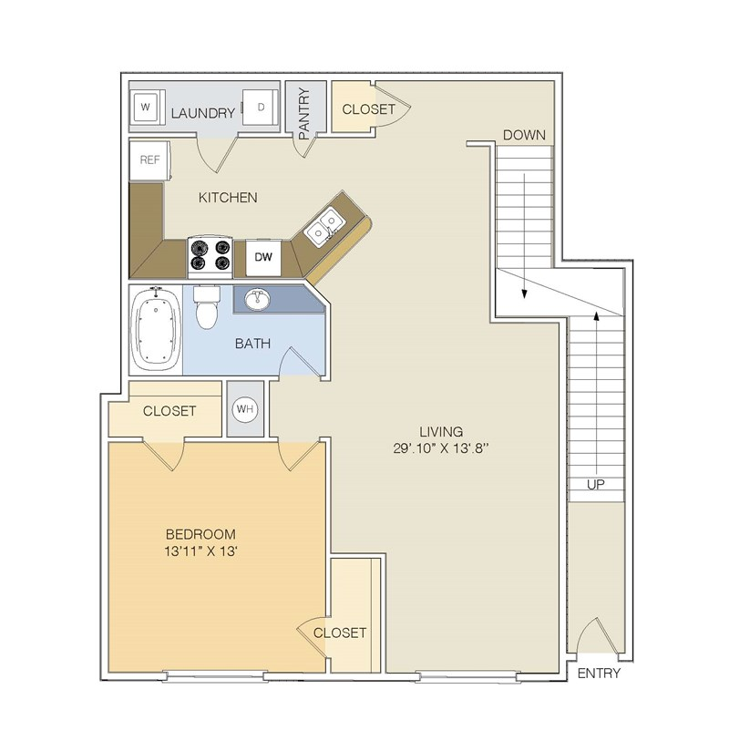 987 sq. ft. A2U/GAR floor plan
