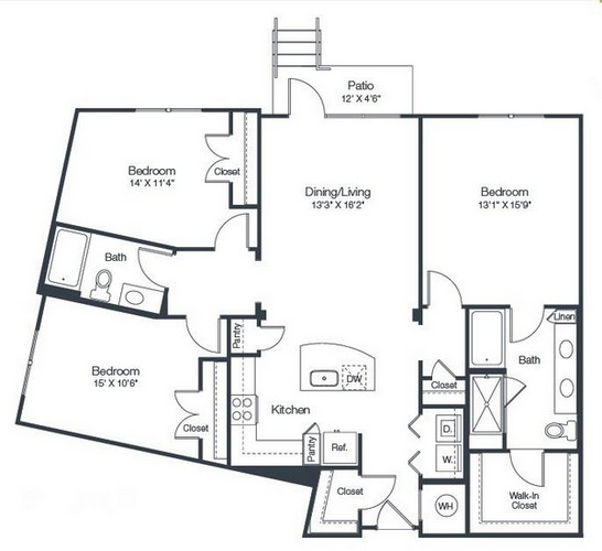 1,446 sq. ft. C2A floor plan