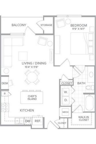 855 sq. ft. A3D floor plan