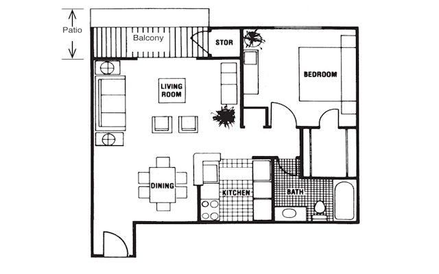 642 sq. ft. Belmont floor plan