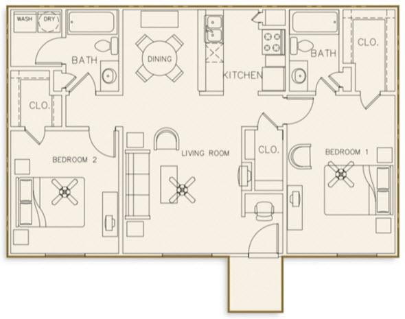 1,027 sq. ft. 50% floor plan