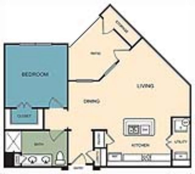 780 sq. ft. Gunnison floor plan