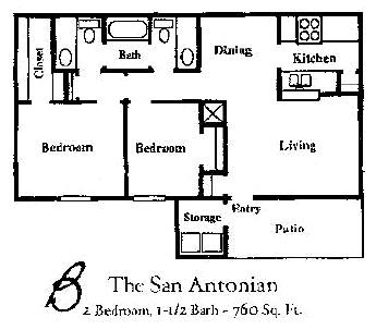 760 sq. ft. SAN ANTONIAN floor plan