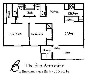 760 sq. ft. SAN ANTONIAN floor plan