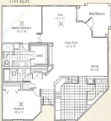 1,584 sq. ft. to 1,744 sq. ft. L floor plan