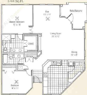 1,744 sq. ft. K floor plan