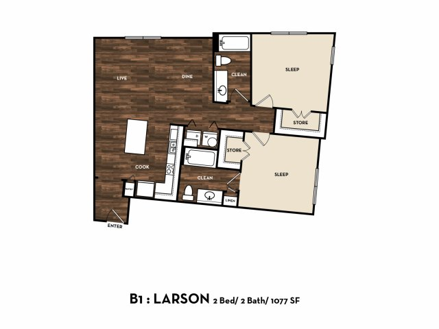 1,077 sq. ft. B1: Larson floor plan