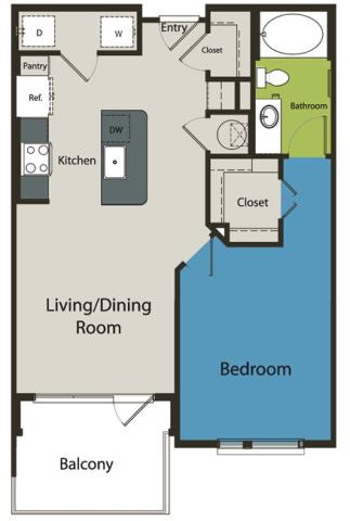 704 sq. ft. A1 floor plan