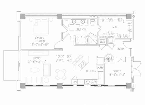 1,201 sq. ft. A7 floor plan