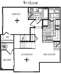 908 sq. ft. A4L floor plan