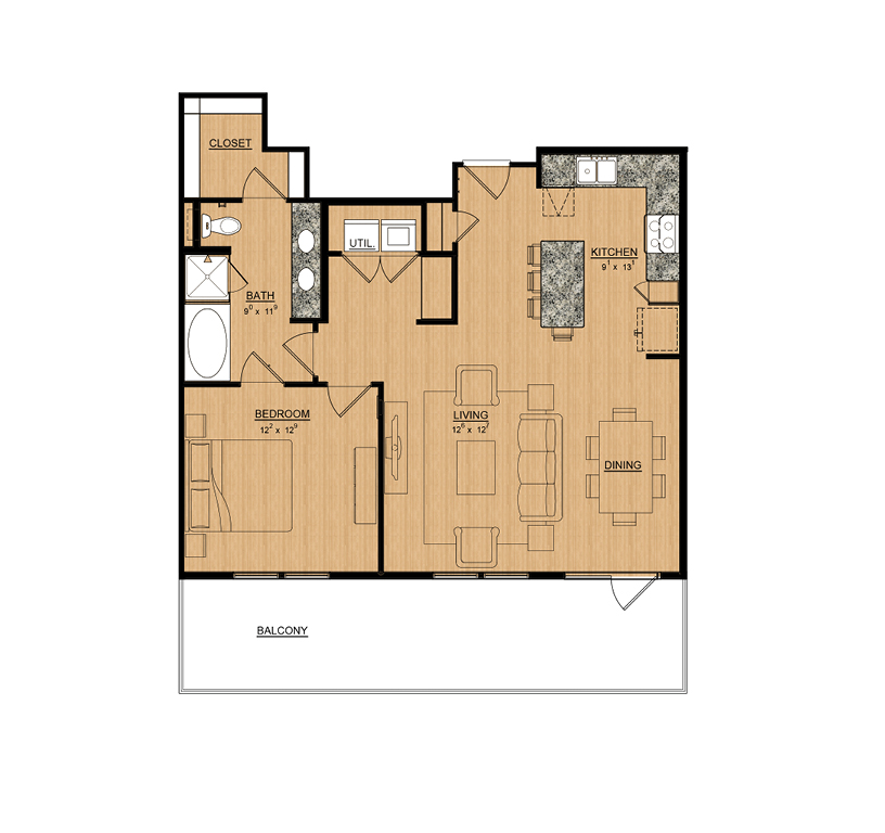 928 sq. ft. Lilac floor plan