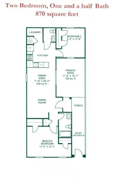 870 sq. ft. MKT floor plan
