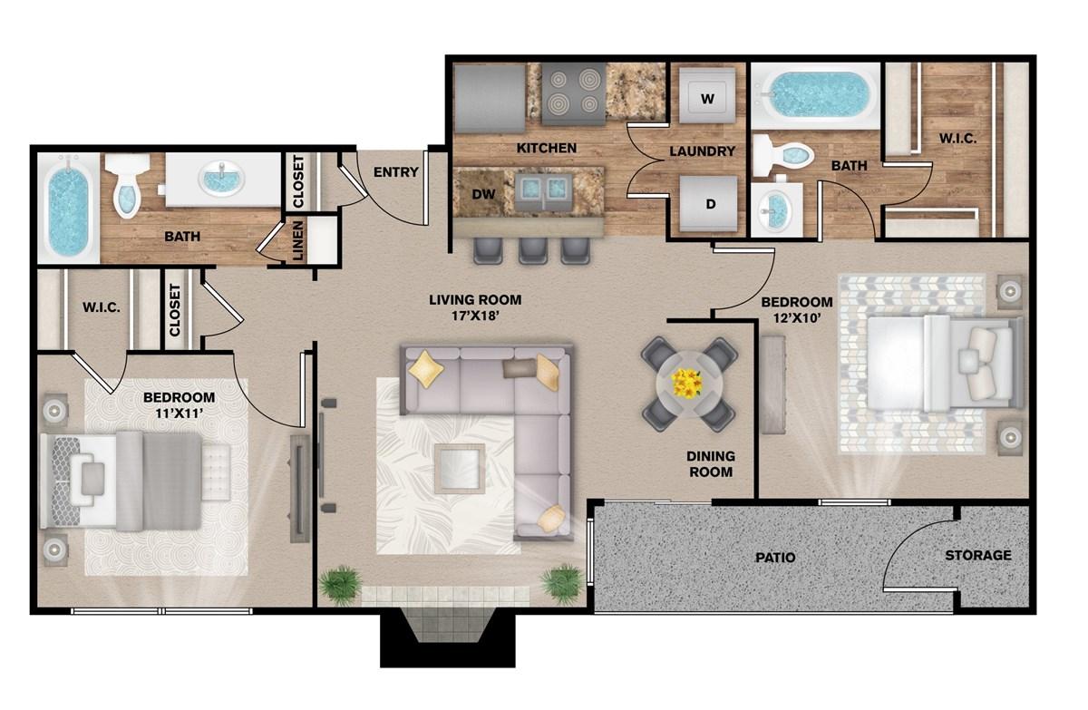 921 sq. ft. B-1 floor plan