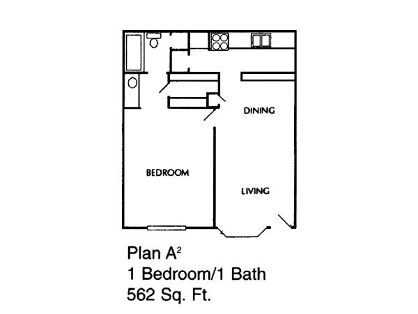 562 sq. ft. to 583 sq. ft. A2/A floor plan