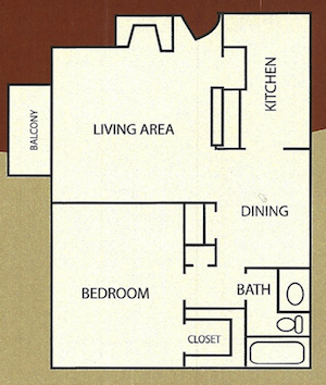 698 sq. ft. Wimberly floor plan