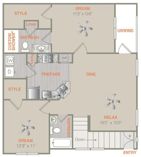 1,149 sq. ft. B1U floor plan