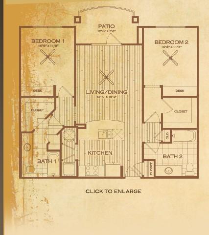 1,048 sq. ft. B2 Bastrop floor plan